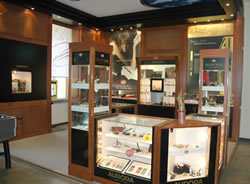 Aurora show room highlights the extensive line of pen products.